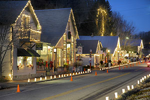 street decorated for Christmas with lights